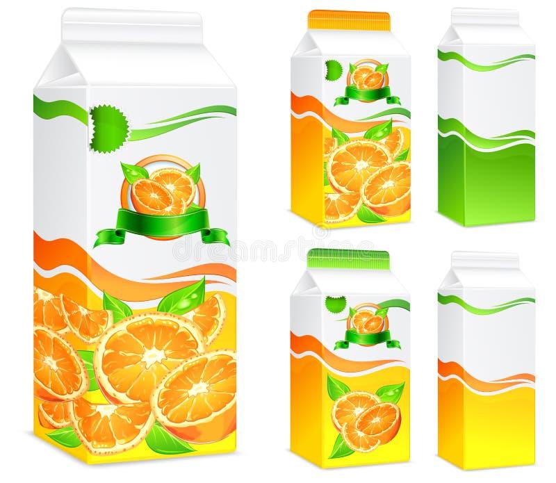 Fruktsaftorangepackar Arkivbild