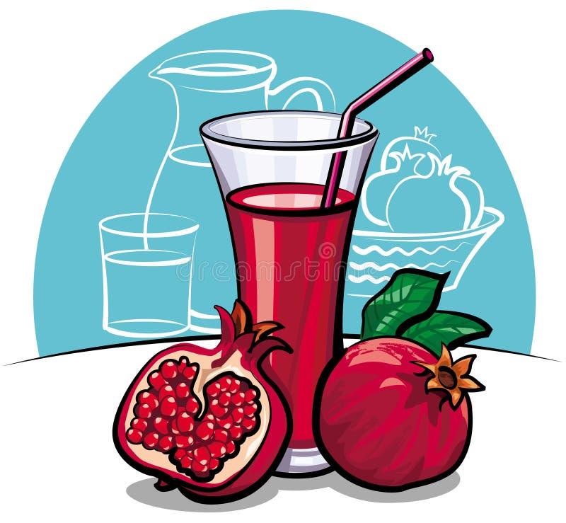 fruktsaftpomegranate royaltyfri illustrationer