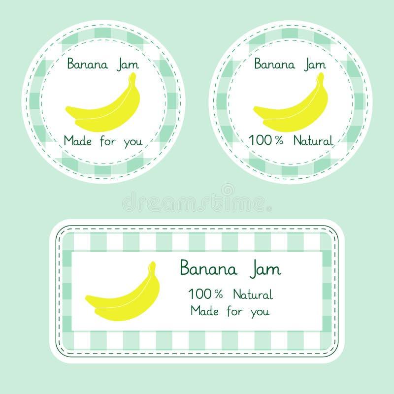 Fruktsamling för design Etiketter för hemlagad naturlig banan sitter fast i gräsplan- och gulingfärg royaltyfri illustrationer