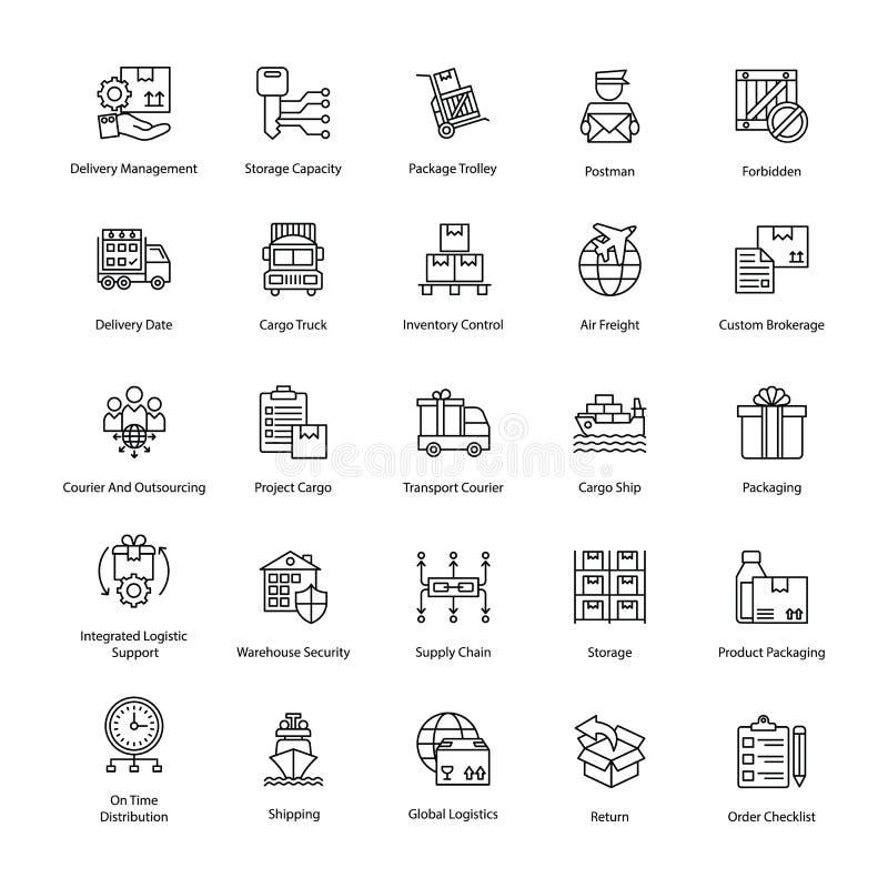 Fruktsamma logistikleveranssymboler vektor illustrationer