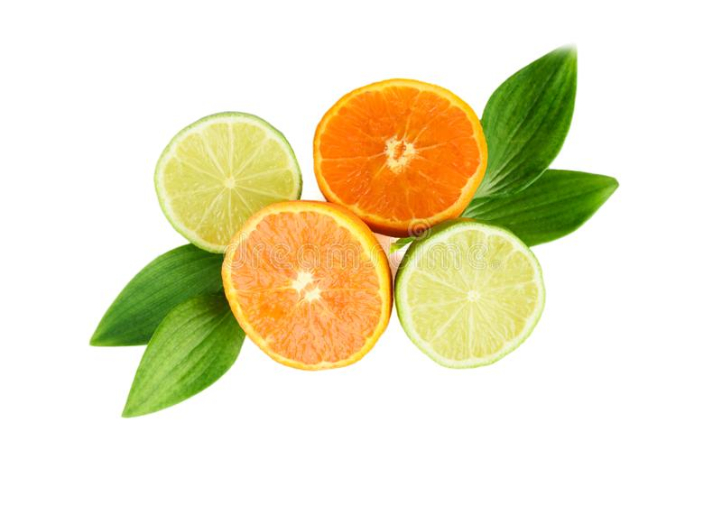 Fruktsortiment av tangerin och limefrukt med sidor royaltyfria foton