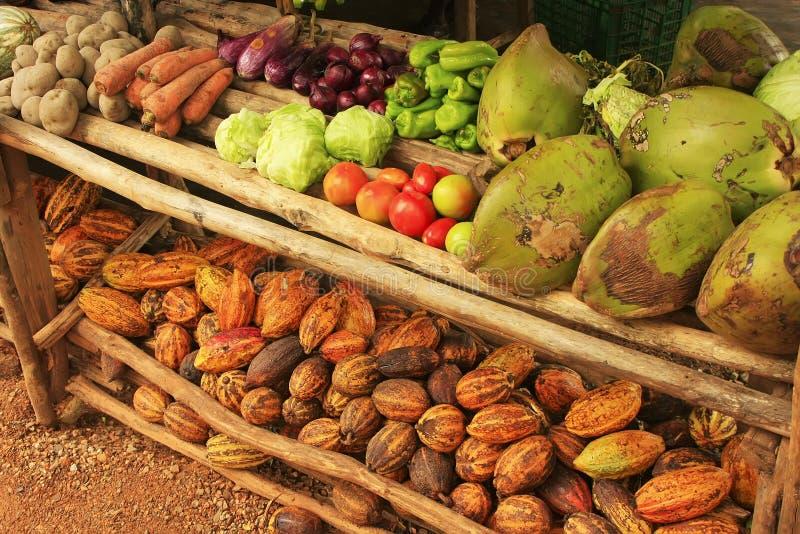 Fruktställning i den lilla byn, Samana halvö arkivbild