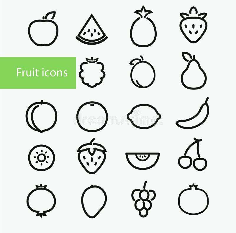 Fruktsymboler royaltyfri illustrationer