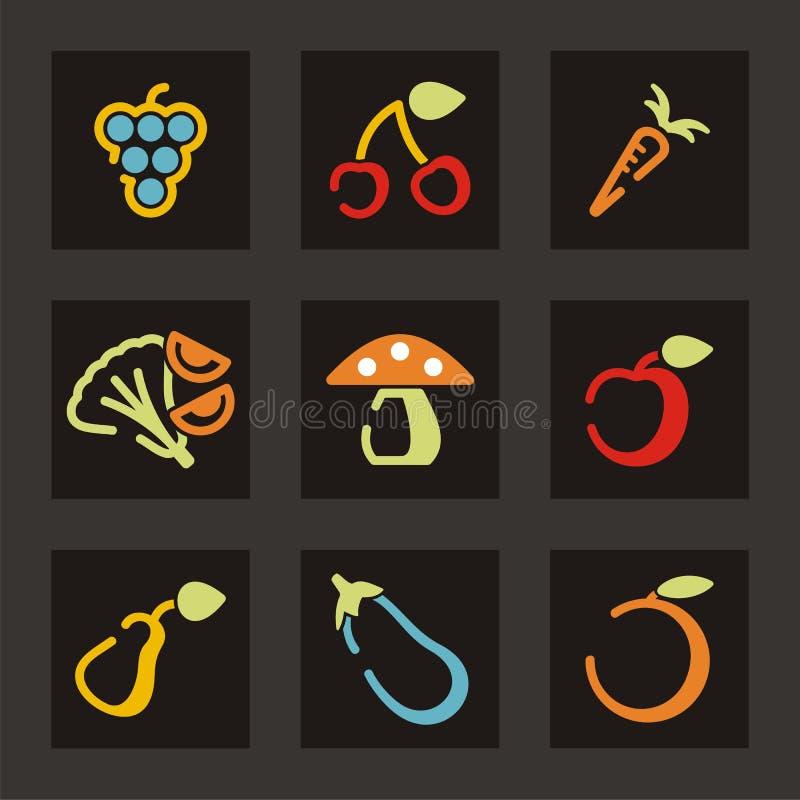 fruktsymbolsgrönsak stock illustrationer