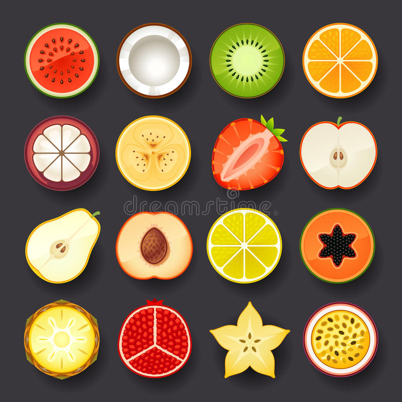 Fruktsymbolsuppsättning stock illustrationer