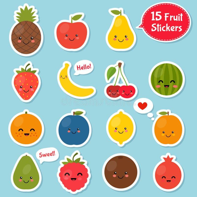 Fruktsymbolsuppsättning Färgrik mall för att laga mat, stock illustrationer