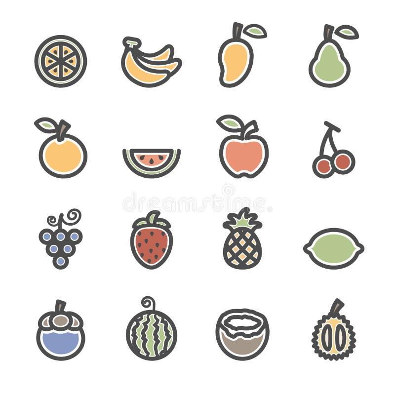 Fruktsymbolsuppsättning, lägenhetlinje version, vektor eps10 stock illustrationer