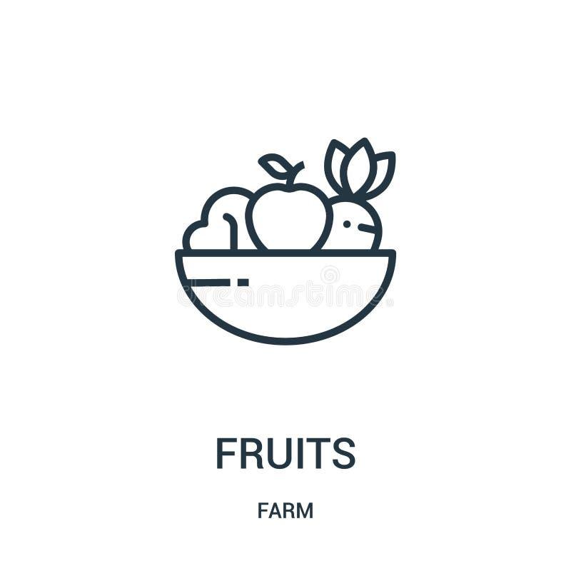 fruktsymbolsvektor från lantgårdsamling Tunn linje illustration för vektor för fruktöversiktssymbol Linjärt symbol för bruk på re vektor illustrationer