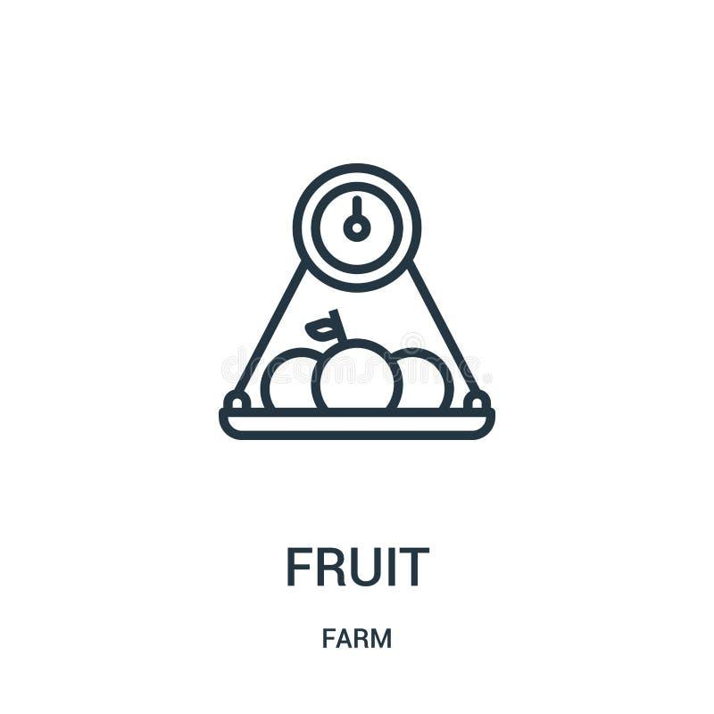 fruktsymbolsvektor från lantgårdsamling Tunn linje illustration för vektor för fruktöversiktssymbol r vektor illustrationer