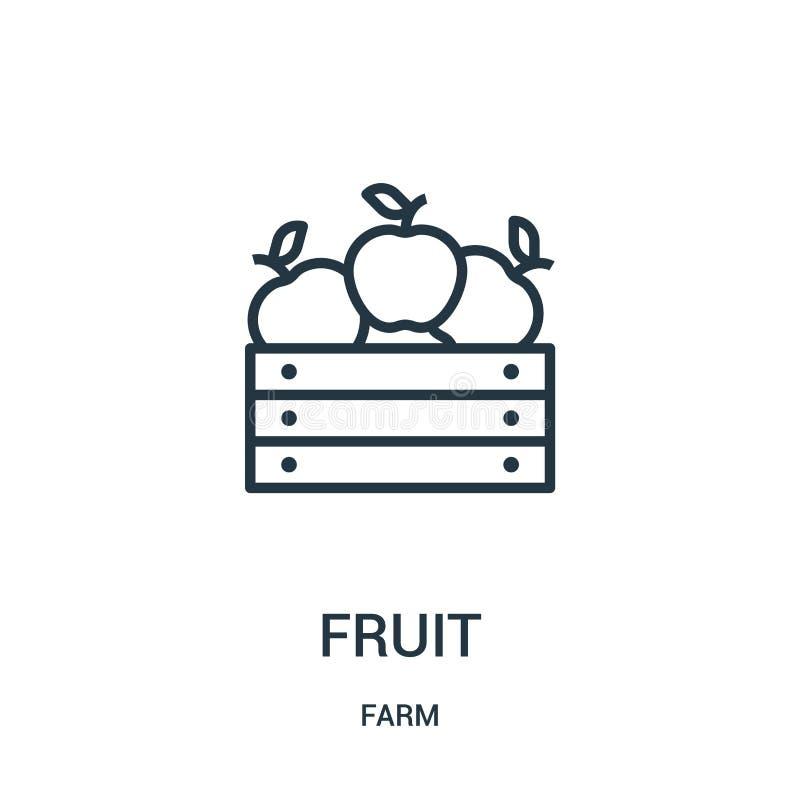 fruktsymbolsvektor från lantgårdsamling Tunn linje illustration för vektor för fruktöversiktssymbol r royaltyfri illustrationer