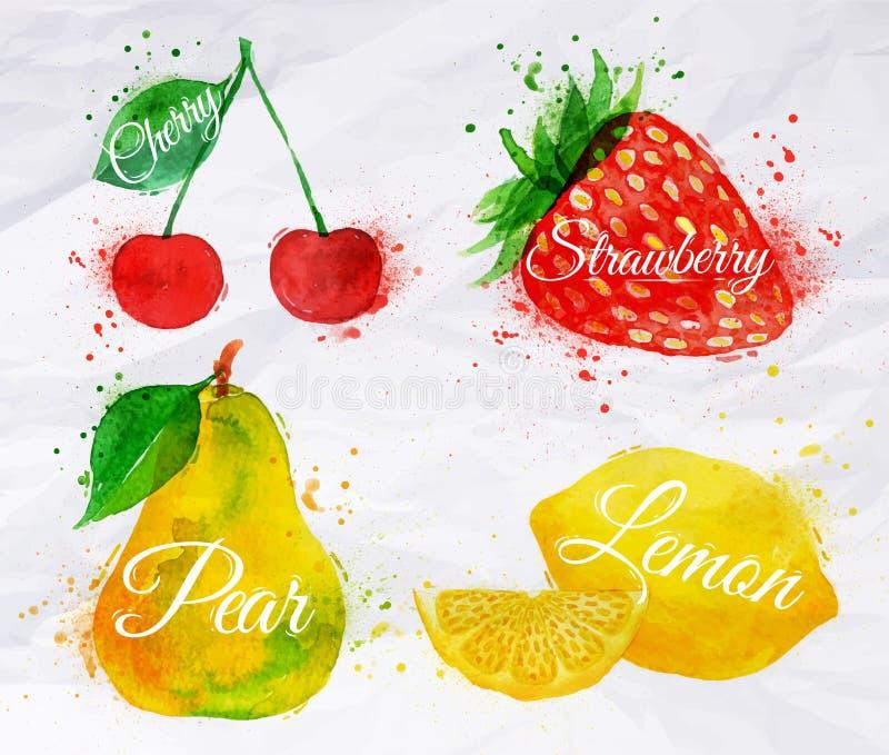 Fruktvattenfärgkörsbär, citron, jordgubbe, päron royaltyfri illustrationer