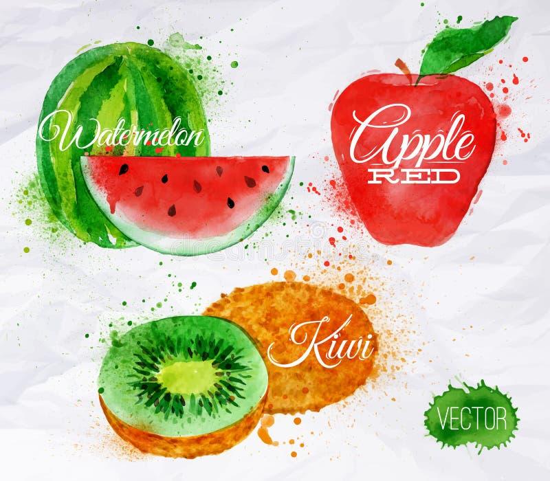 Fruktvattenfärgvattenmelon, kiwi, rött äpple stock illustrationer