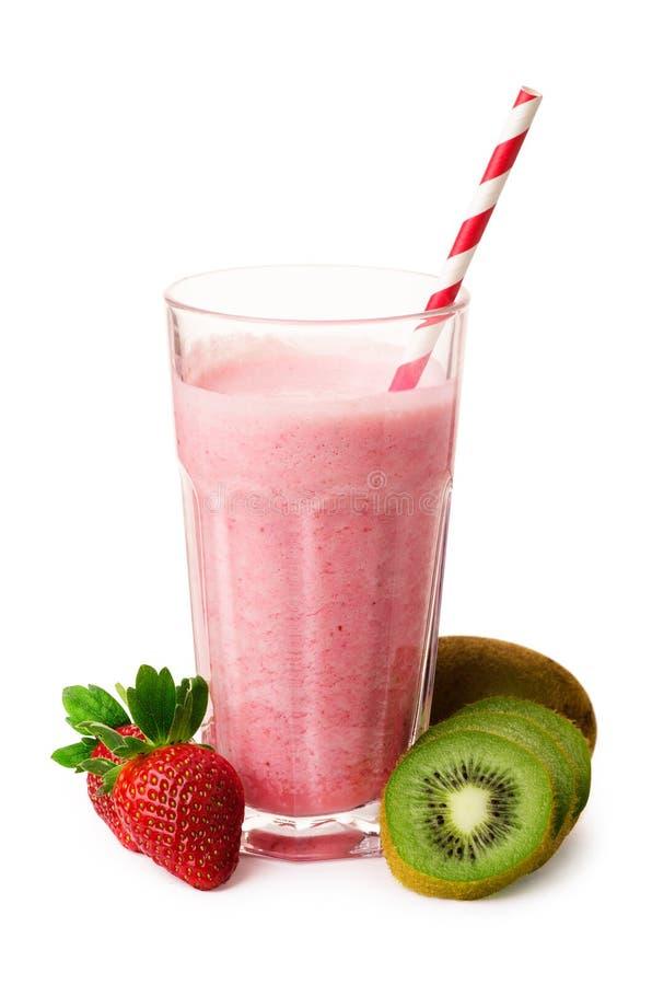 Frullato con la fragola, yogurt, kiwi fotografia stock