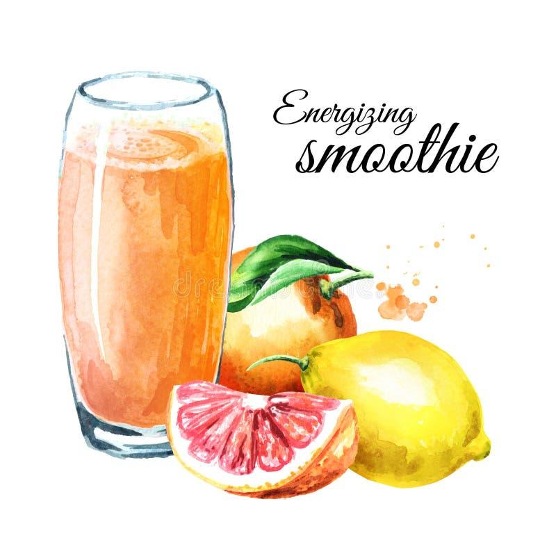 Frullato d'eccitazione con l'arancia, il pompelmo ed il limone Illustrazione disegnata a mano dell'acquerello, isolata su fondo b fotografia stock libera da diritti