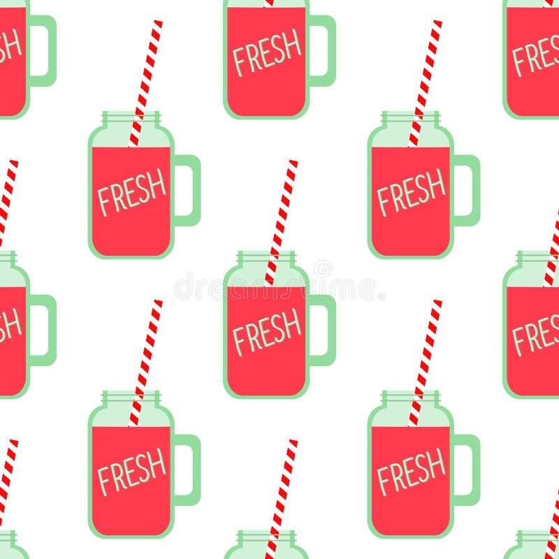 Frullato rosso della frutta nel modello senza cuciture di vetro del barattolo di muratore su fondo bianco royalty illustrazione gratis
