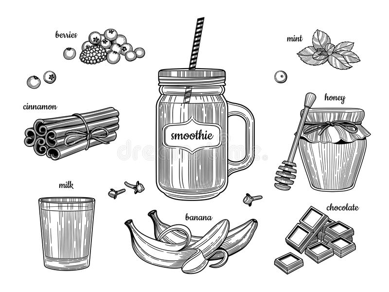 Frullato in un barattolo di vetro Gli ingredienti individuali Bacche, cannella, latte, banane, cioccolato, miele, menta royalty illustrazione gratis