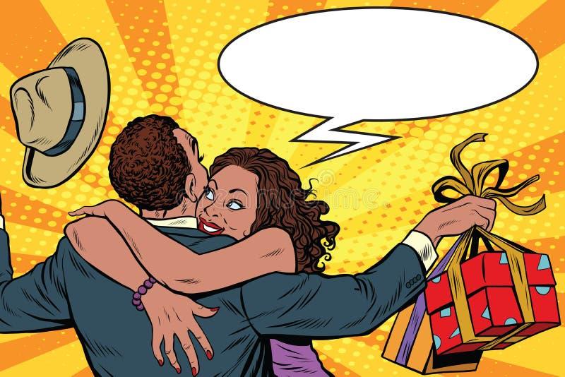 Frun tackar maken för gåvan royaltyfri illustrationer