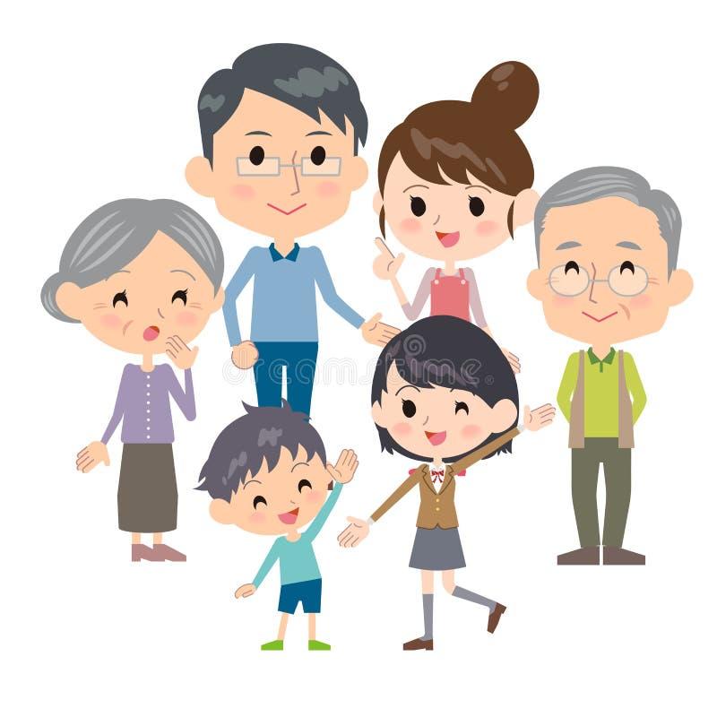 Frunce de las generaciones de la familia tres stock de ilustración