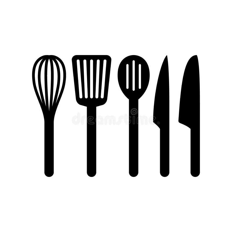 Frusta dell'articolo da cucina, cucchiaio scanalato, spatola Turner ed insieme della siluetta dei coltelli royalty illustrazione gratis