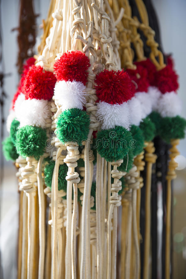 Fruste tricolori tradizionali del cuoio per gli sheperds ungheresi e uff fotografie stock libere da diritti