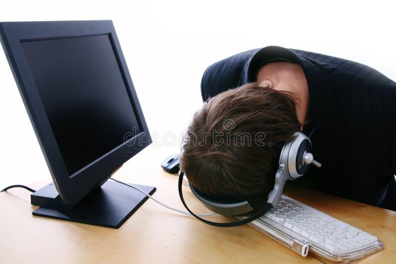 Frustración del centro de atención telefónica foto de archivo libre de regalías