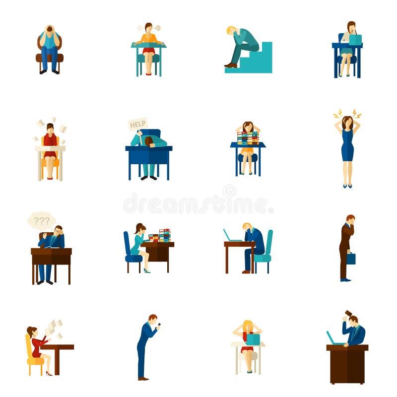 Frustraci ikony Płaskiego setu ludzie ilustracji
