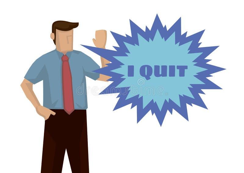 Frustracja biznesmen chce rezygnować dla jego pracy Pojęcie przemęczenia lub rezygnacja ilustracja wektor