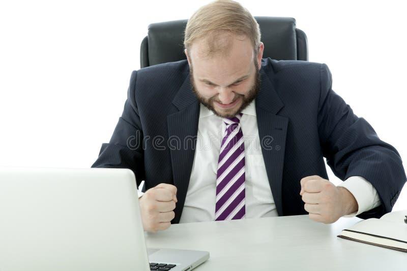 Frustran al hombre de negocios de la barba imagen de archivo libre de regalías