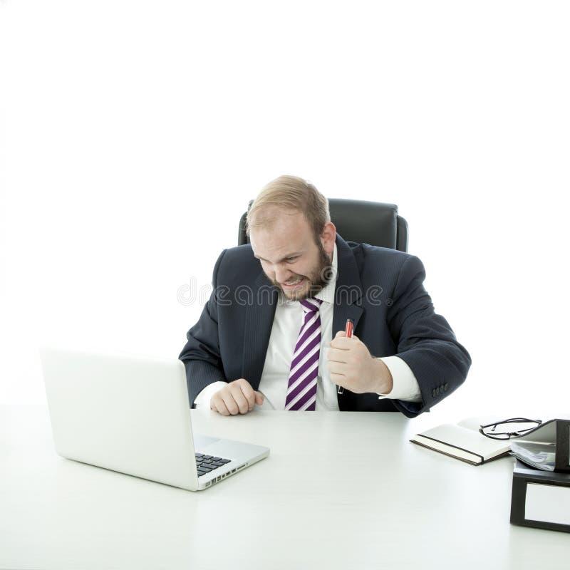 Frustran al hombre de negocios de la barba fotos de archivo