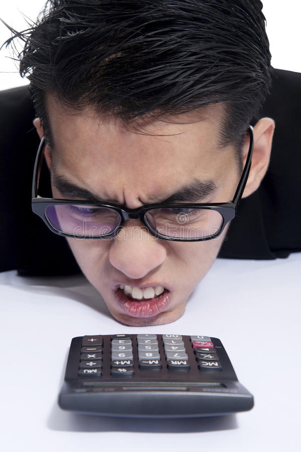 Frustrated accountant stock images