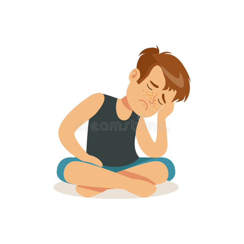 Frustrated boy sitting on the floor in lotus position character vector Illustration. Isolated on a white background royalty free illustration