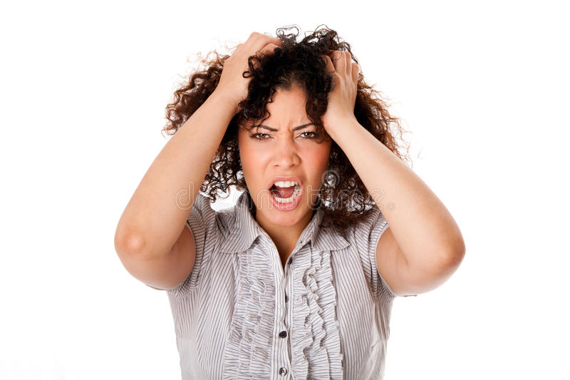 Frustrated business woman stock photo