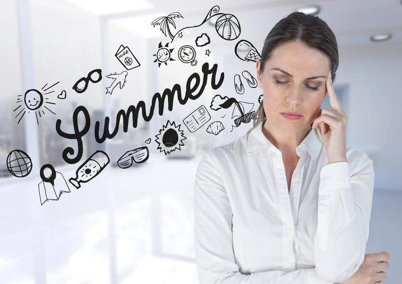 Frustrated business woman against summer doodle and blurry white office stock image