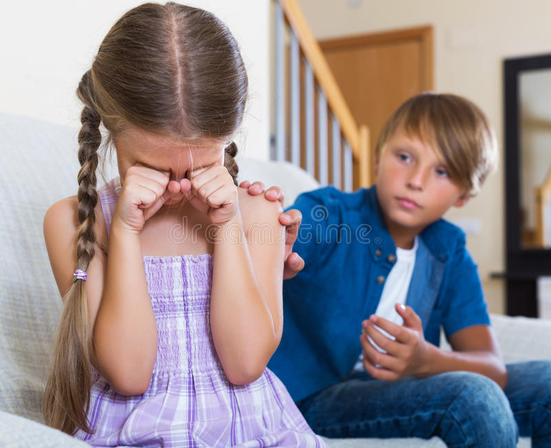 Frustrated children having serious fight royalty free stock images