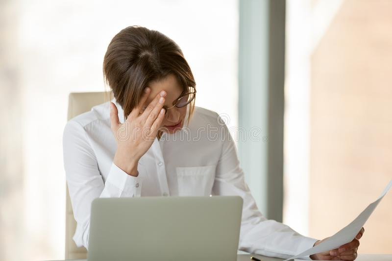 Frustrated female employer disappointed with company business fa royalty free stock images