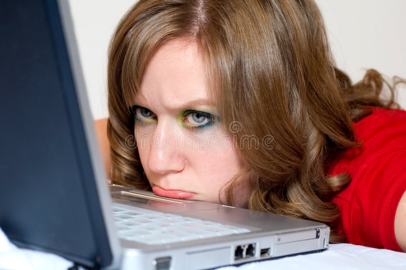 Download Frustrated girl stock image. Image of white, brunette - 4168469