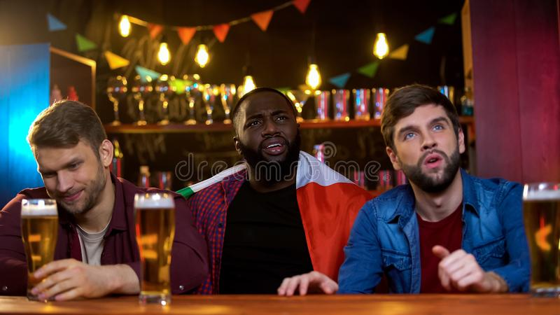 Frustrated male fans upset with points of italian representatives on contest royalty free stock images