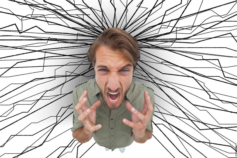 Frustrated man gesturing and yelling. With lines drawn on the background stock illustration