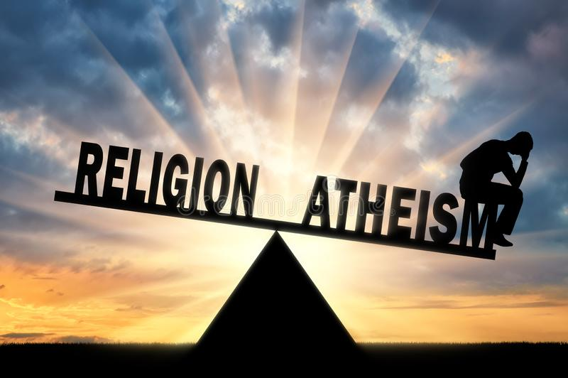 Frustrated man made a choice in favor of atheism and not religion on the scales. A frustrated man made a choice in favor of atheism and not religion on the stock illustration