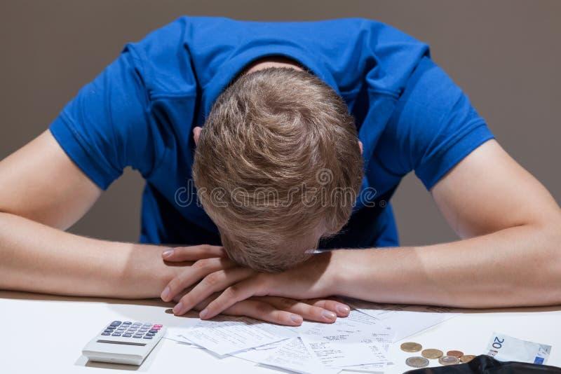 Frustrated man not having money royalty free stock image