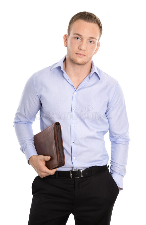 Frustrated and overworked isolated businessman over white. stock image