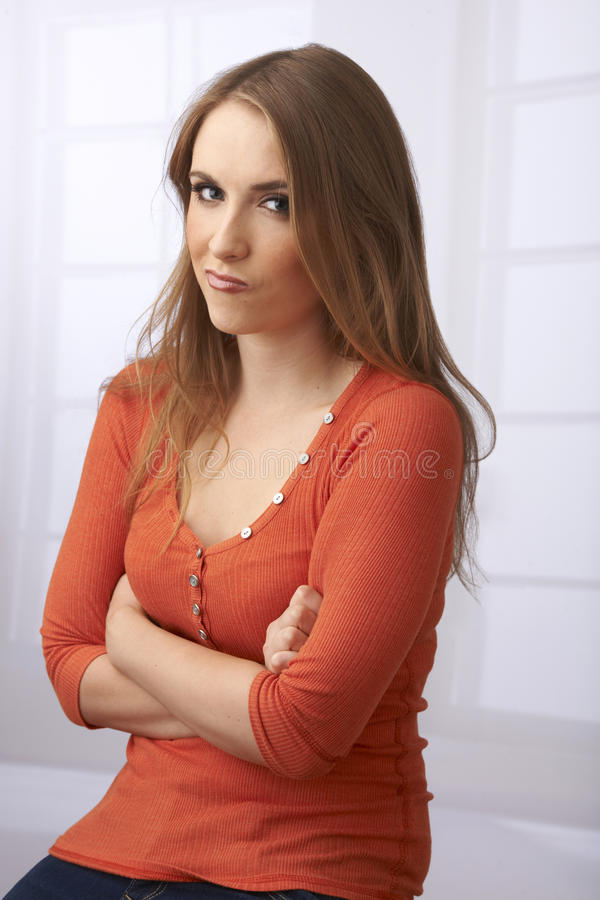 Frustrated Portrait of Young Woman royalty free stock images