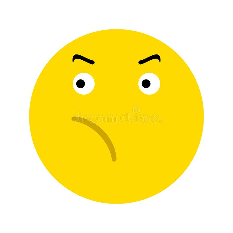 Frustrated smiley face icon. Isolated on white background royalty free illustration