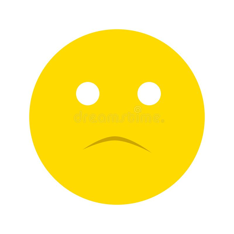 Frustrated smiley face icon. Isolated on white background stock illustration