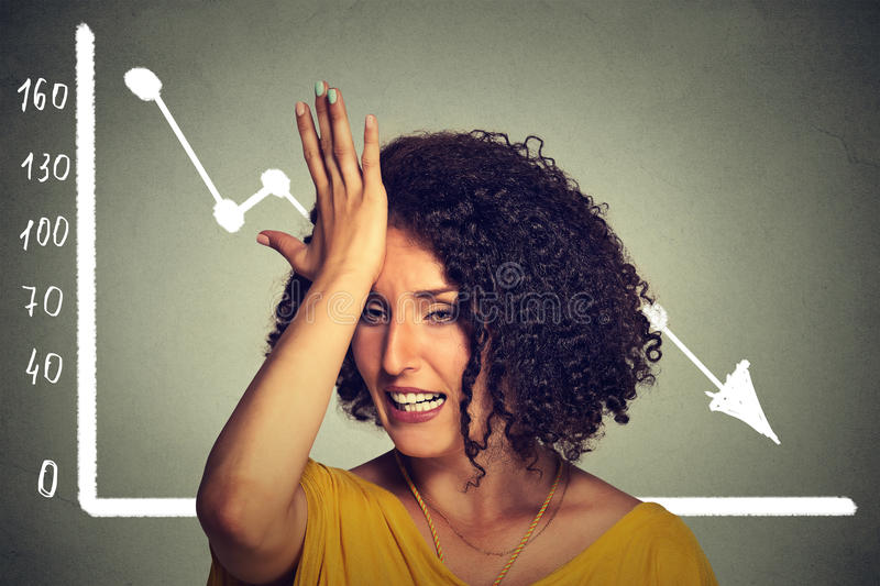 Frustrated stressed business woman with financial chart graphic going down royalty free stock photos
