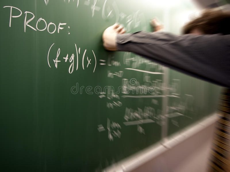 Frustrated student solving a problem stock photography