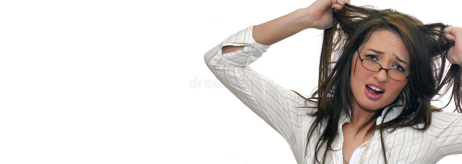 Frustrated woman. Web banner with white background