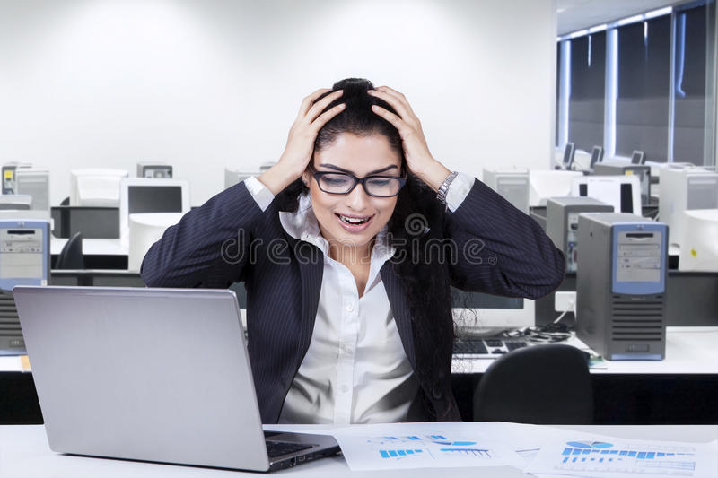 Frustrated worker in the office royalty free stock photos