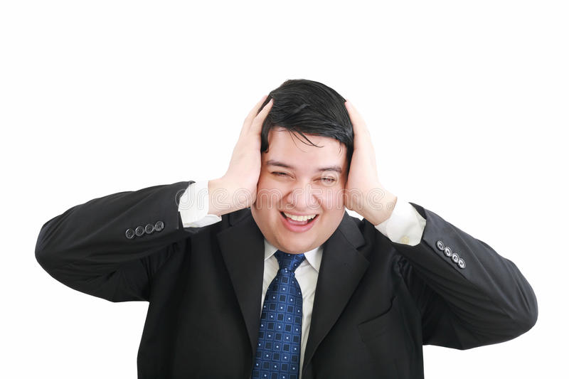 Frustrated young businessman royalty free stock image