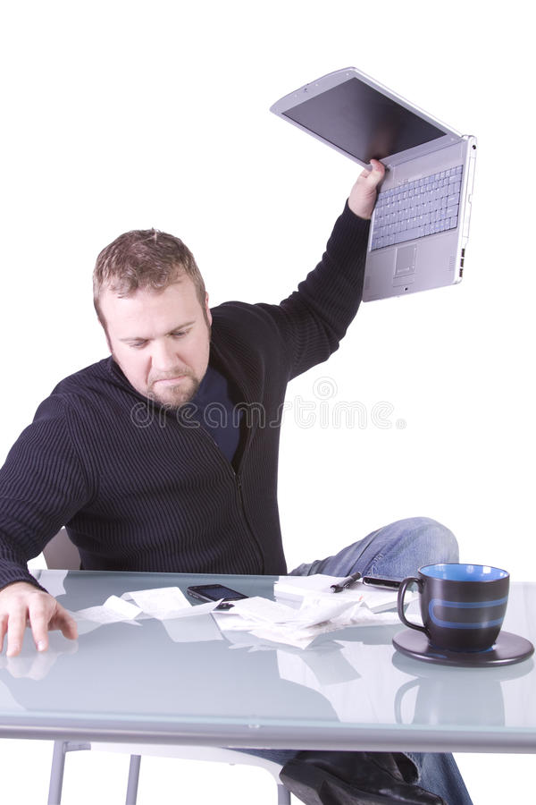 Frustrated Young Casual Businessman Working At His Stock Images